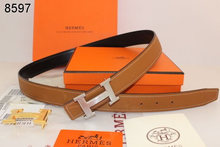 Discounted Womens Hermes Brown with Silver H Buckle Belt