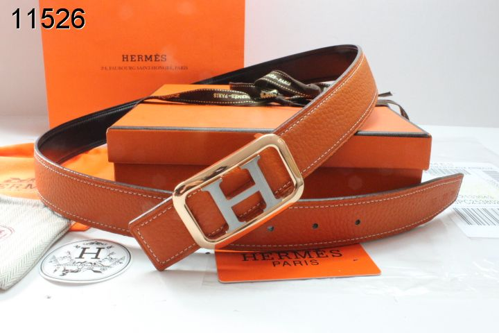 Belt with Golden/Silver H Buckle Orange Hermes Womens Cheap Sale