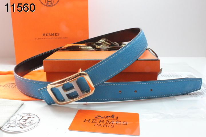Great Womens with Golden/Silver H Buckle Hermes Blue Belt