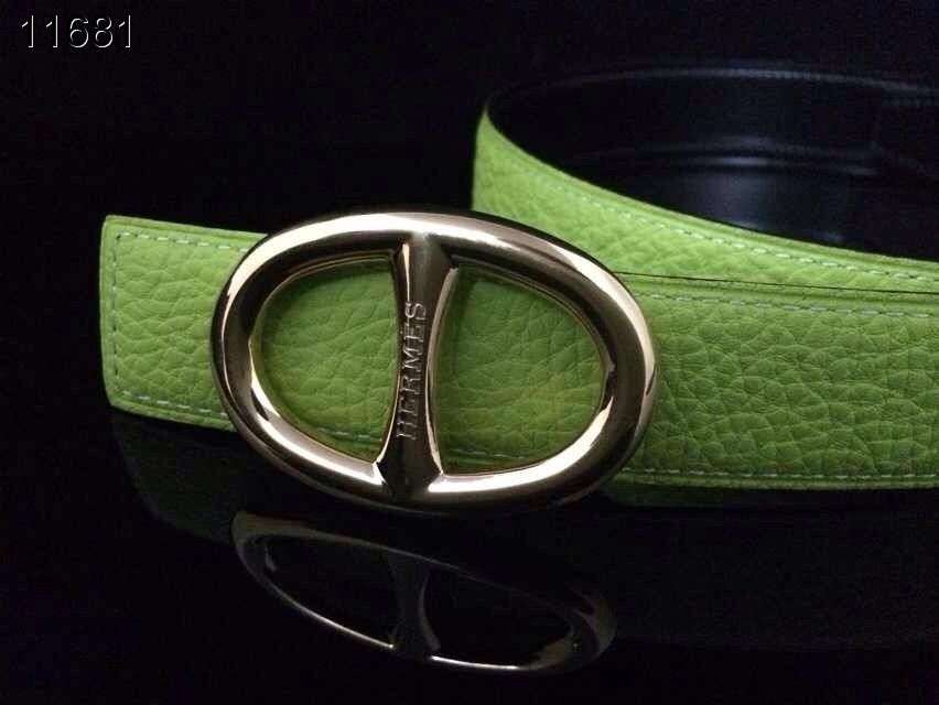 Green Womens with Silver H Buckle Hermes Belt On sale