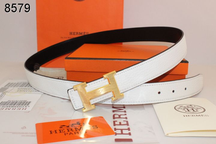 White Womens with Golden H Buckle Belt Hermes Deals