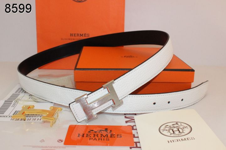 Hermes White Womens with Silver H Buckle Belt For sale