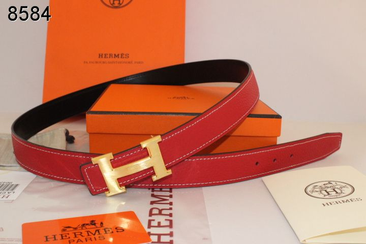 Hermes with Golden H Buckle Womens Belt Red Wholesale