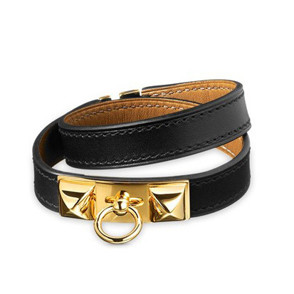 Hermes Pyramid Rrivale Bracelet Black with 10k Gold HW