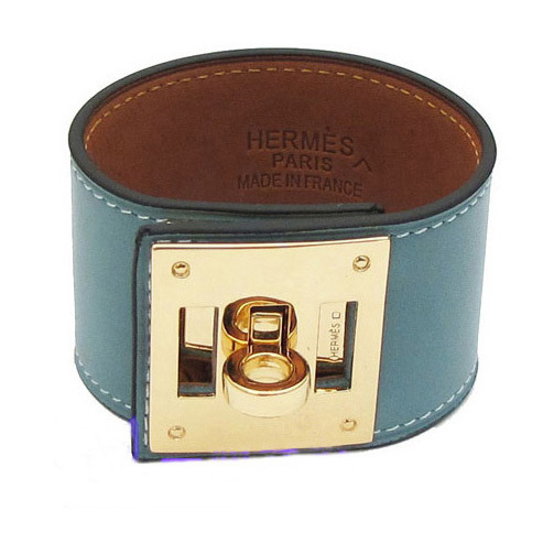 Hermes Kelly Dog Cuff Bracelet Blue With 10k Yellow Gold HW