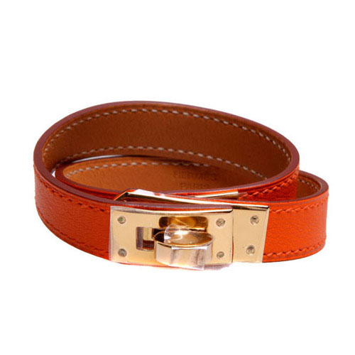 Hermes 10k Gold Kelly Double Tour Orange Leather Bracelet