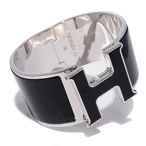 Hermes 10k White Gold Click Clack H Super Wide Black Bracelet