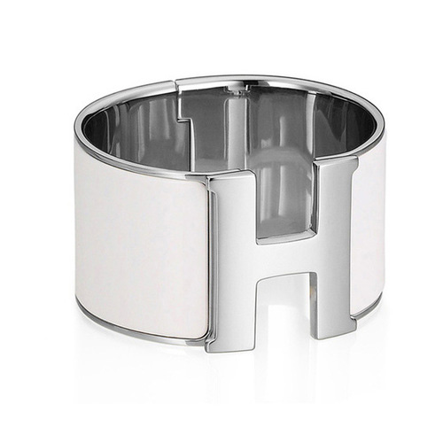 Hermes 1.5Inch Clic-Clac H Bracelet 10k White Gold With White Enamel