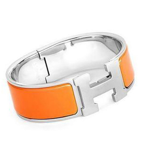 Hermes Silver Platinum Plated H Bracelet with Orange Enamel