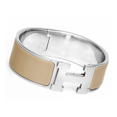 Hermes Gold Plated H Bracelet with Taupe Enamel Silver