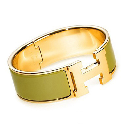 Hermes Gold Plated H Bracelet with Green Enamel