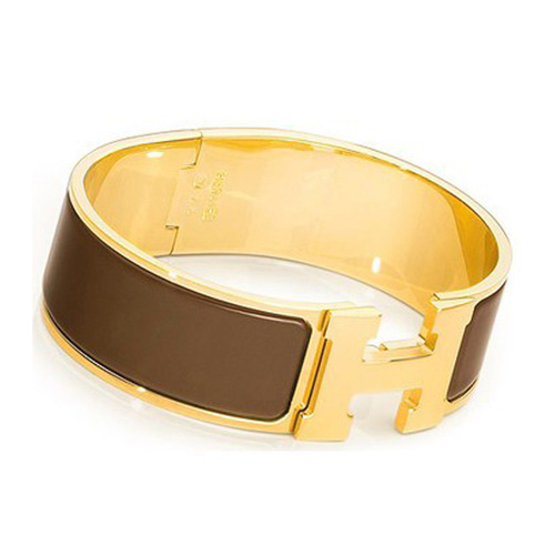 Hermes Gold Plated H Bracelet with Coffee Enamel