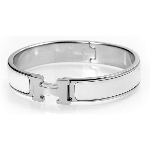 Hermes Silver Platinum Plated H Narrow Bracelet with White Enamel