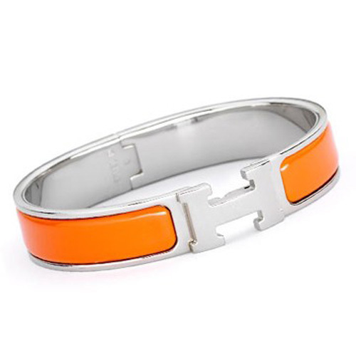 Hermes Silver Platinum Plated H Narrow Bracelet with Orange Enamel