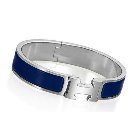 Hermes Silver Platinum Plated H Narrow Bracelet Deep Blue Enamel