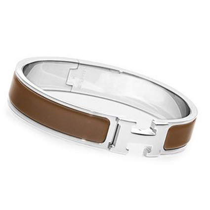 Hermes Silver Platinum Plated H Narrow Bracelet Coffee Enamel
