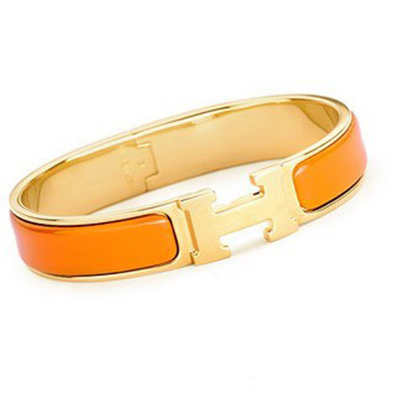 Hermes Gold Plated H Narrow Bracelet with Orange Enamel