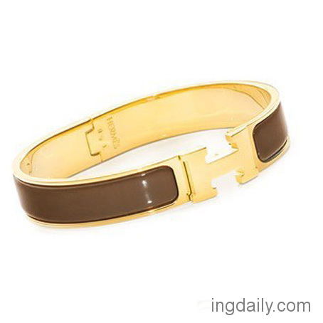 Hermes Gold Plated H Narrow Bracelet with Coffee Enamel