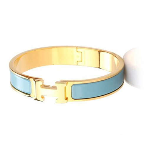 Hermes Gold Plated H Narrow Bracelet with Blue Enamel