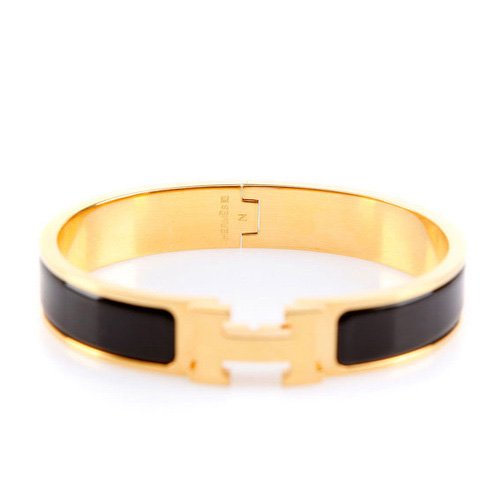 Hermes Gold Plated H Narrow Bracelet with Black Enamel