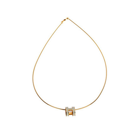 Hermes 10k Gold Pop H Necklace with White Enamel
