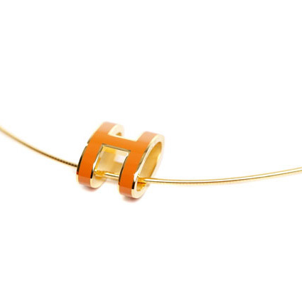 Hermes 10k Gold Pop H Necklace with Orange Enamel