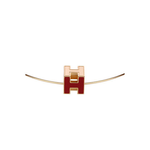 Hermes 10k Gold H Cube Choker Necklace with Red Enamel