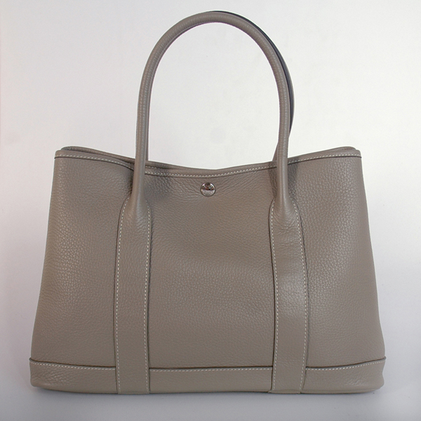 H0821 Hermes Garden party bag clemence leather in Dark Grey
