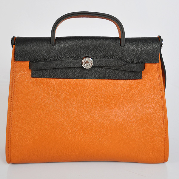 H9051 2012 New Hermes HerBag 31CM Togo leather Bag 9051 Black/Orange