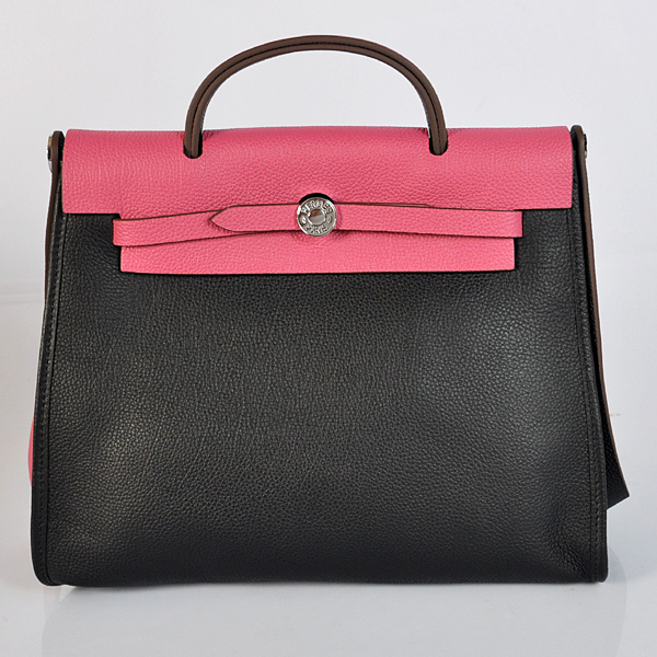 H9051 2012 New Hermes HerBag 31CM Togo leather Bag 9051 Peach/Black