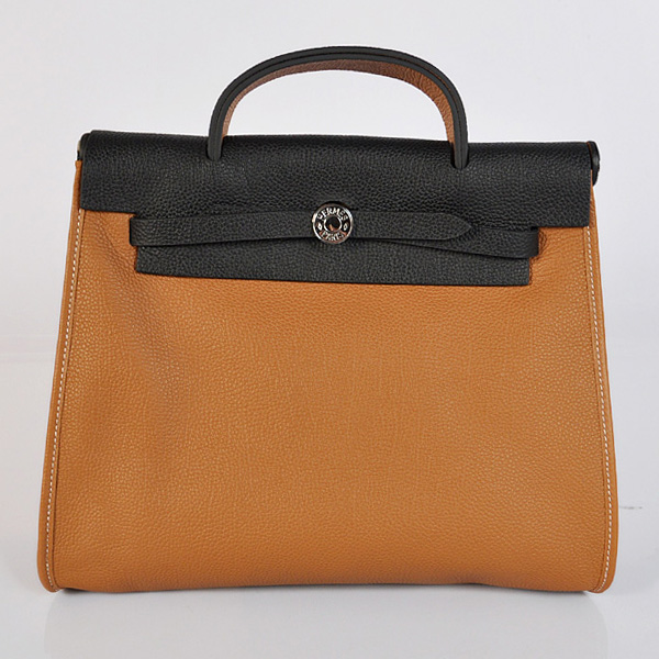 H9051 2012 New Hermes HerBag 31CM Togo leather Bag 9051 Black/Camel
