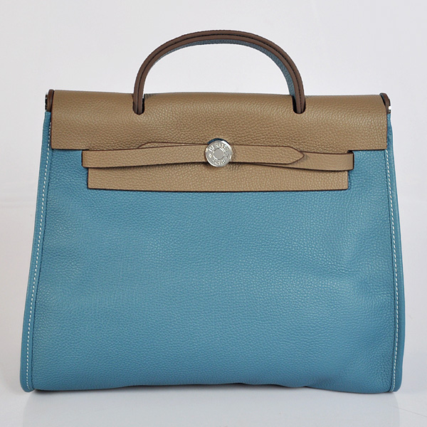 H9051 2012 New Hermes HerBag 31CM Togo leather Bag 9051 Dark Grey/Medium Blue