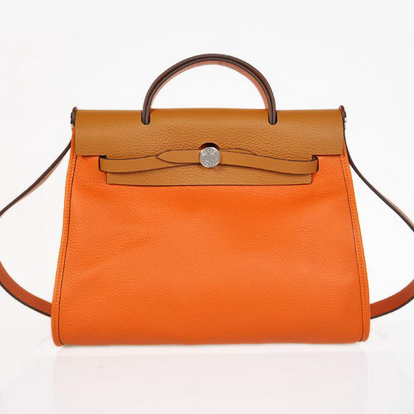 H9051 2012 New Hermes HerBag 31CM Togo leather Bag 9051 Orange Camel