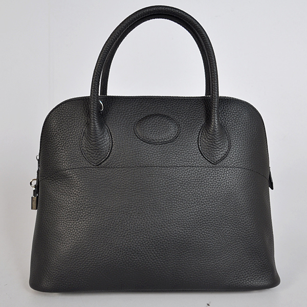 1037BS Hermes Bolide Bag 37cm clemence leather in Black with Silver hardware