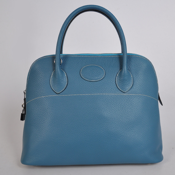 1037MB Hermes Bolide Bag 37cm clemence leather in Medium Blue with Silver hardware