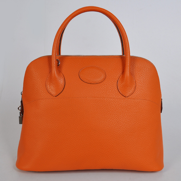 1037OS Hermes Bolide Bag 37cm clemence leather in Orange with Silver hardware