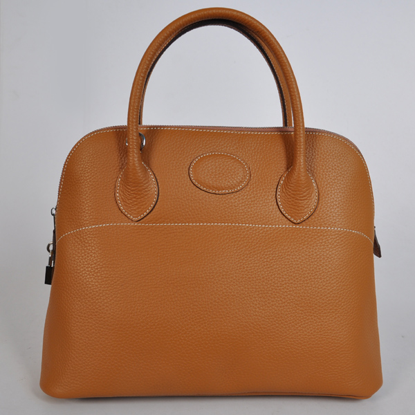 1037CS Hermes Bolide Bag 37cm clemence leather in Camel with Silver hardware