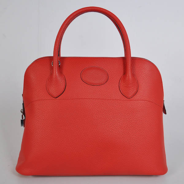 1037FS Hermes Bolide Bag 37cm clemence leather in Flame with Silver hardware