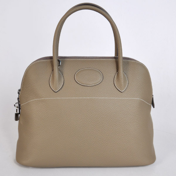 1037DG Hermes Bolide Bag 37cm clemence leather in Dark Grey with Silver hardware