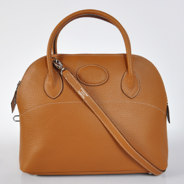 H31LSCS Hermes Bolide Togo Leather Tote Bag in Camel with Silver hardware