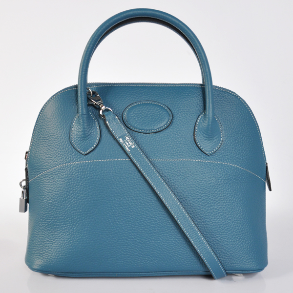 H31LSMBS Hermes Bolide Togo Leather Tote Bag in Medium Blue with Silver hardware