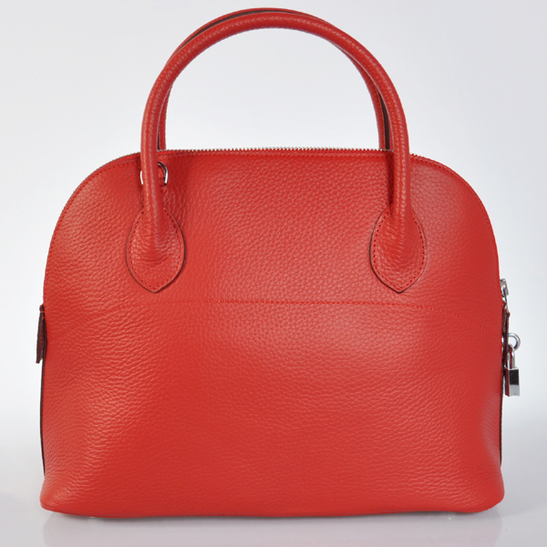 H31LSFS Hermes Bolide Togo Leather Tote Bag in Flame with Silver hardware