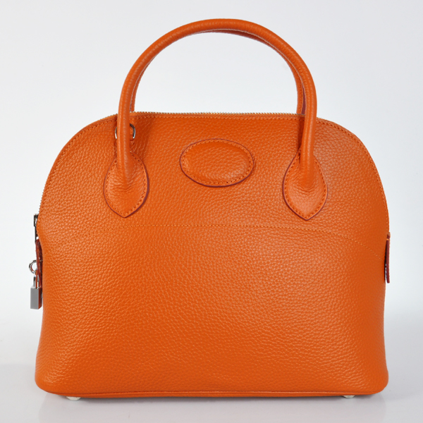 H31LSOS Hermes Bolide Togo Leather Tote Bag in Orange with Silver hardware