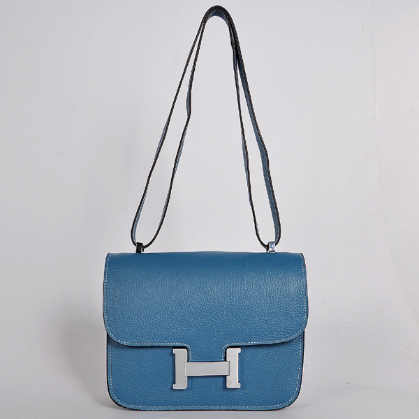 8888MBS Hermes Constance Bag clemence leather in Medium Blue with Silver hardware