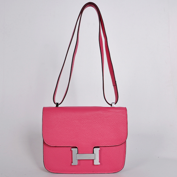 8888PS Hermes Constance Bag clemence leather in Peach with Silver hardware