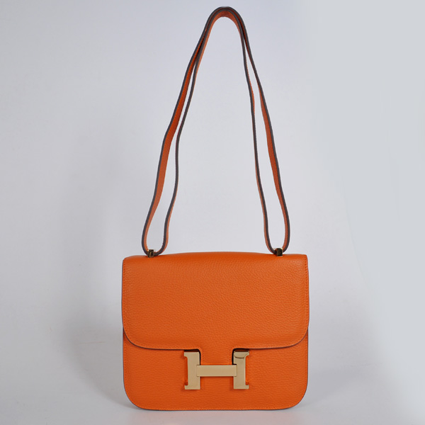 8888OG Hermes Constance Bag clemence leather in Orange with Gold hardware