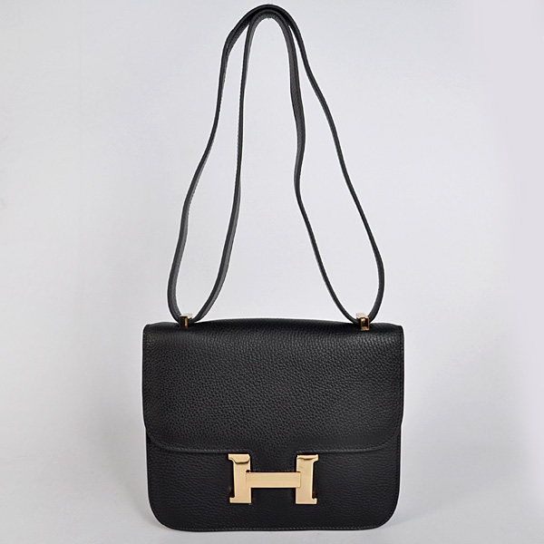 8888BG Hermes Constance Bag clemence leather in Black with Gold hardware