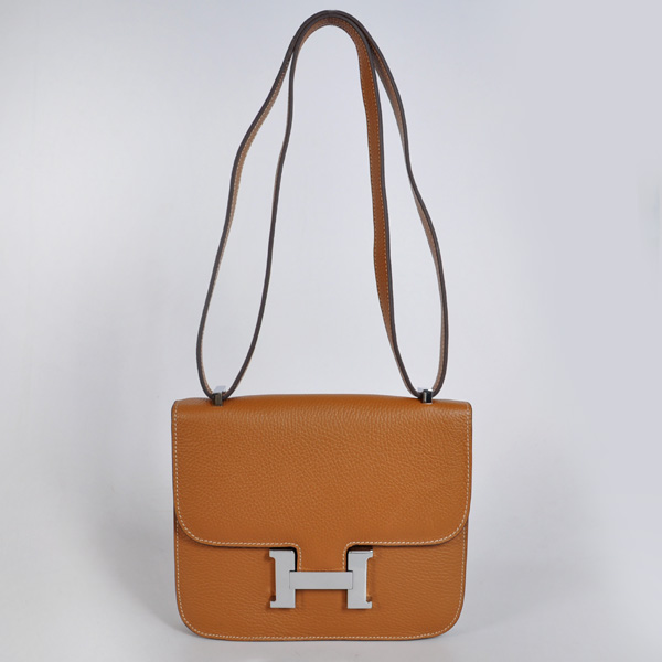8888CS Hermes Constance Bag clemence leather in Camel with Silver hardware