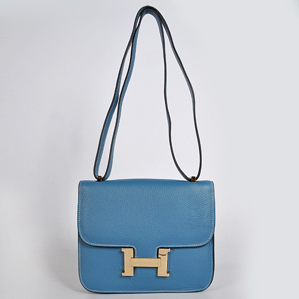 8888MBG Hermes Constance Bag clemence leather in Medium Blue with Gold hardware