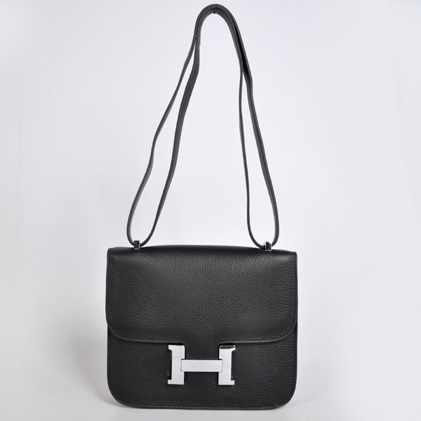 8888BS Hermes Constance Bag clemence leather in Black with Silver hardware